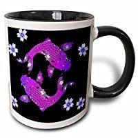 Sven Herkenrath Sealife - Asia Koi Fish in Purple Style with Black Background - 11oz Two-Tone Black Mug (mug_240231_4)