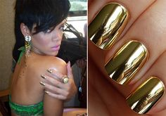 Rihanna shows off a metallic manicure. metallic nails r in for winter 2012.