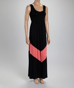 Look what I found on #zulily! J-MODE Black & Coral Chevron Maxi Dress by J-MODE #zulilyfinds