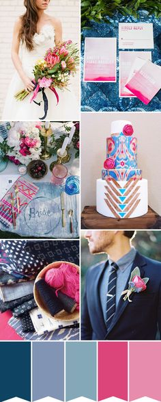 Dark shades such as indigo and navy are balanced perfectly with shades of peony pink and cerise to create this Indigo and Pink Wedding Colour Palette...