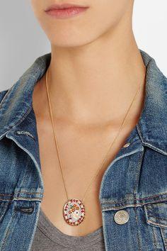 Holly Dyment|Lady Skull 18-karat gold multi stone necklace|NET-A-PORTER.COM