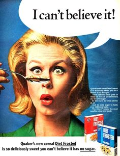 Elizabeth Montgomery in an ad for Quaker's Diet Frosted cereals [1966]