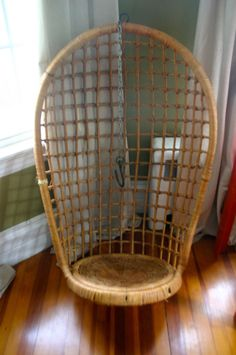 Vintage Hanging Rattan Chair by OfAllTheFishVintage on Etsy, $295.00