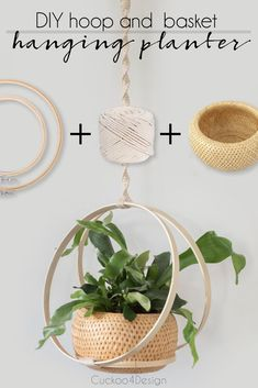 How to make a hanging basket with hoops | embroidery hoop hanging planter | easy DIY hanging planter | macrame planter | macrame planter DIY | macrame planter tutorial | macrame planter hanger | macrame indoor planter | macrame planters hanging | DIY boho macrame plant hanger | macrame planter decor | bohemian plant hanger | woven double wall basket for hanging planter via @jakonya Diy Hanging Planter Macrame, Macrame Plant Holder, Macrame Plant Hangers, Hanging Planters, Plant Holders, Baskets On Wall, Wall Basket, Hanging Baskets, Embroidery Hoop Decor