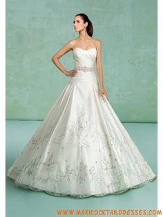 Elegant Strapless Beading Ivory Satin Wedding Dresses Design...