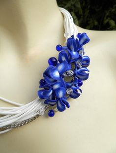 Irises Bib necklace  Blue white necklace  Handmade by insoujewelry, $70.00