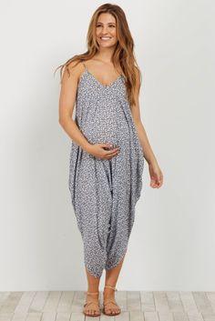 1c4f7b49b8 Blue Floral Harem Pant Maternity Jumpsuit