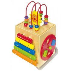 Il Dado Sole realizzato in legno di qualità, presenta 6 lati per gioco e divertimento, tutto da scoprire dai giochi ad incastro, xilofono, orologio al pannello d'attività con sfere di legno colorate.Età 3