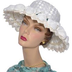 Vintage 1960s Mr John Classic White Woven Cellophane Straw Picture Hat available at My Vintage Clothes Line on Ruby Lane