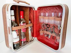 Vintage Portable Travel Bar w Tools Stainless Steel by Collectique