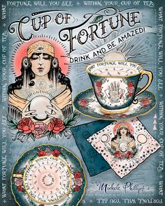 Cup of Fortune mystical tea set for tasseology - illustration by Michele Phillips - ink and paint