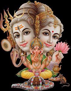 Shiva, Parvati, and Ganesha