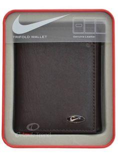 buy online 4176d b07f6 Nike Golf Leather Wallet Brown Genuine Passcase Tri-fold Mens Billfold Boys   Nike