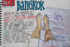 KENT TUT2. This is a travelling visual journal. We can easy to see the title Bangkok meaning the author has been there. The list of activities maybe a timetable for him. I thought the author is a man because when I look at his legs, easy to realise it is a leg man. Moreover, the legs make us thinking about the long day, tired or relax on the bed after a walking day to explore new place when we travelling.