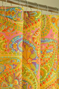 Pink U0026 Lime Green Paisley Shower Curtain   72 LONG. $124.99, Via Etsy.