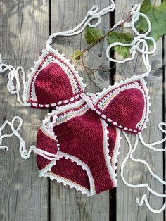 Our 'SADIRA' crochet bikini set . ♕ ALL SIZE ♕ Available in many colors ♕ Premium Quality (Kualitas benang dan rajutan bagus banget) . ♡ Order by WA 0878 8825 3036 ♡ Working Hours Bikinis Crochet, Crochet Bikini Pattern, Crochet Blouse, Bikini Swimwear, Bikini Set, Swimsuits, Burgundy Bikini, Bikinis String, Flan