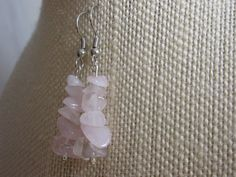 Rose Quartz Earrings Rose Quartz Chip Beads Pale by GlowingDawn