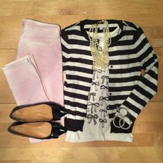 stripes, bows, blush, preppy, pearls, bow flats, work wear, office outfit, professional   IG: @whitecoatwardrobe