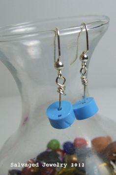Small Repurposed Blue Plastic Lid Earrings by SalvagedJewelry, $12.00