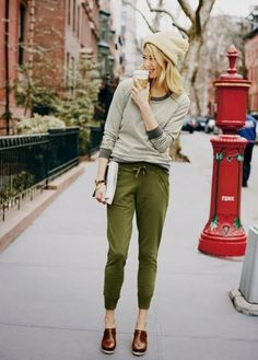 Green and grey and brown. The loose joggers work well with the relaxed shirt and clogs.