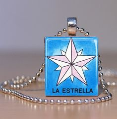 Loteria la Estrella Art Pendant or Tie Tack made by spiffycool, $7.95