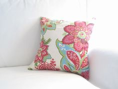 Red Teal Watermelon White Decorative Floral Pillow, 16x16inch pillow, Home Decor, Floral Decor, Spring Decor, Living room Decor, bed pillows