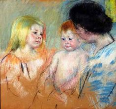 mary cassatt pastels   above: Mary Cassatt, Sara and her Mother with the Baby(no. 1) , c ...