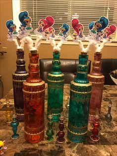 Genie bottle Shimmer and Shine centerpieces idea