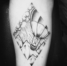 Blackwork Hot Air Balloon Tattoo by La Lupita Studio