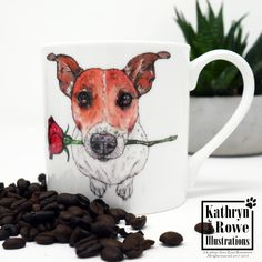 Jack Russell Terrier, Jack Russell, Terrier, Birthday Gift, New Home, Birthday, Wedding, Anniversary, Bone China, Coffee, Terrier, Dogs, Mug Watercolour Drawings, Watercolor And Ink, Chihuahua Art, American Cocker Spaniel, China Mugs, Jack Russell Terrier, Terrier Dogs, Whippet, Doberman