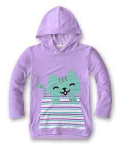 Take a look at this Lavender Cat Hoodie - Girls today!