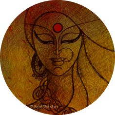 Nav Durga: Navratri 2015 The Mother Divine manifests herself in nine different forms with each form signifying something subtle and deep. Discover the hidden meanings of the nine goddesses or the Nav Durga. Durga Maa Paintings, Durga Painting, Indian Art Paintings, Deep Paintings, Abstract Paintings, Madhubani Art, Madhubani Painting, Fabric Painting, Fabric Paint Shirt