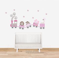 Kids Wall Decals, Nursery Wall Decals: All aboard! Our Train Wall Decal is fun and cute and also features jungle animals. A colourful and whimsical way to decorate a childs room, play