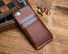 Brown iPhone Case, Leather iPhone 7 Case, iPhone 7 plus Case, Leather iPhone 7 plus Case, Leathe Iphone Leather Case, Iphone Wallet Case, Iphone 7 Plus Cases, Phone Case, Handmade Leather Wallet, Apple Watch Bands, Brown, Initials, Smooth