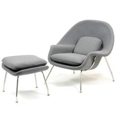 womb chair in grey fabric