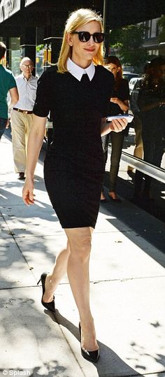 Different look: During the day the star donned a chic but almost Wednesday Adams inspired outfit