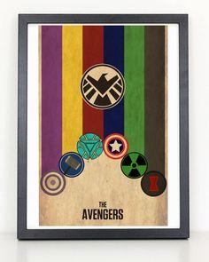 Avengers Minimalist Poster - Iron Man, Captain America, Thor, Hulk, Black Widow, Hawkeye