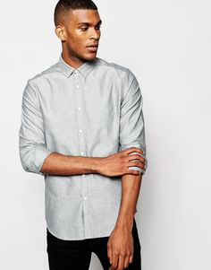 ASOS+Smart+Oxford+Shirt+In+Grey+With+Long+Sleeves