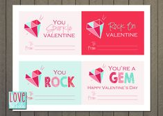 Instantly Download these gems with this printable file including 4 different valentines per page - 4 different designs. These are perfect to attach to a ring pop or candy necklace! This is an 8.5x11 DIGITAL FILE that you can print from home or upload and print in any quantity at the printing place of your choice. Individual valentines are approx. 3.5x5 and there are 4 valentines per page. { T H I S L I S T I N G I N C L U D E S } • AN 8.5X11 DIGITAL PRINTABLE High Resolution JPG File(s) to…