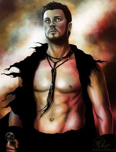 Lovely painting of Agron...On another note: GOD I WANT THAT NECKLACE!     hehe yeah sorry. But seriously want it so bad.