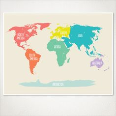 World Map Poster for kids / Nursery room decor / Baby nursery art / Playroom decor for kids / Boys and Girls room decor map by WordBirdShop on Etsy