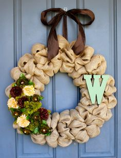 Fall Burlap Wreath with Monogram, i like the brown green and cream flowers. Different than using orange and yellows for fall