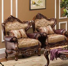 Knightsbridge 6-pc Living Room Set available in Antique Cherry finish. This collection features high-grade leather and gorgeous accent pillows. The coffee and end table feature organic, hand-carved details and a unique, graceful design on the table tops. The sofas and chairs are handsomely outfitted with brass nailhead trim.  Set includes: 2 x Accent Chair 1 x Loveseat 1 x 3-Seater Sofa 1 x Coffee Table 1 x End Table