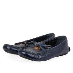 These elegant loafers are true stunners, designed for style, sophistication and all day comfort. Driving Loafers, Prada Shoes, Loafer Shoes, Patent Leather, Dust Bag, Elegant, How To Wear, Blue, Accessories