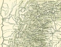1897 Cartes des Alpes Planche Originale Nouveau par sofrenchvintage