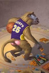 Khufu - monkey with a lakers hat or jersey for Kane Chronicles rick Riordan has a weird sense of humor