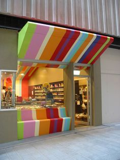 Striped look-- design idea adds brand identity to a simple storefront.