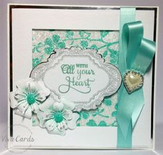 Handmade Card - 'With All Your Heart'...like the way the ribbon is folded