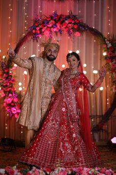 This Cross Culture Wedding Had The Most Gorgeous Couple Outfits & Bridal Jewellery To Swoon Over - Witty Vows Red Wedding Lehenga, Cute Couple Outfits, Green Lehenga, Pink Gowns, Indian Wedding Photography, Lehenga Designs, Bridal Jewellery, Bridal Portraits, Vows