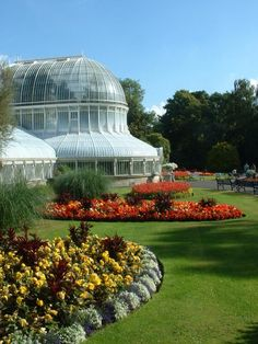 Botanical Gardens in Belfast, Ireland; belfastcity.gov.uk  The Palm House, a dramatically curvilinear greenhouse with a distinctive dome, predates the Palm House at London's Kew Gardens. The Tropical Ravine, with such plants as cycads, palms, mosses, and orchids, was first planted in 1889 and contains some of the oldest seed plants around today.